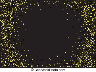 Abstract golden confetti background. Isolated on the black.