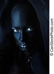 body painting art - Beauty portrait. Close-up portrait of an...