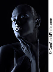 body painting black - Beauty portrait. Close-up portrait of...