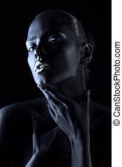 body painting black - Beauty portrait. Close-up portrait of...