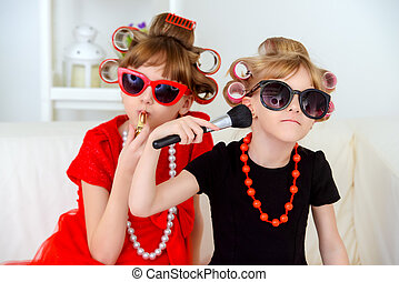 two funny fashion girls - Two funny little girls with...
