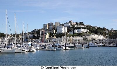 Torquay Devon with boats and houses on hillside - Torquay...