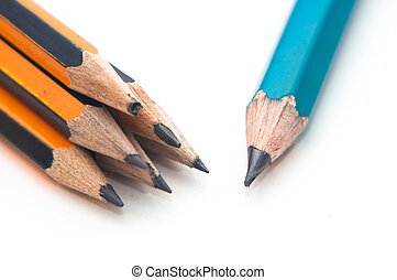 Pencils - Wooden graphite black and yellow pencils over a...