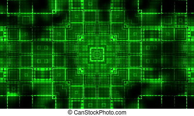 Squares geometric pulse animated VJ looping green CG...