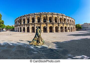 Roman amphitheater in Nimes - Monument to bullfighter...