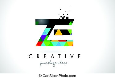 ZE Z E Letter Logo with Colorful Triangles Texture Design...