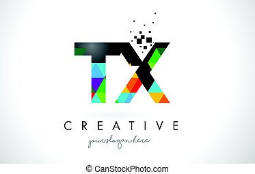 TX T X Letter Logo with Colorful Triangles Texture Design...