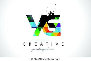 YG Y G Letter Logo with Colorful Triangles Texture Design...