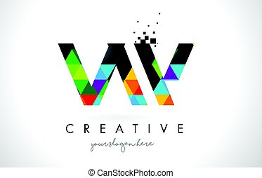 VW V W Letter Logo with Colorful Triangles Texture Design...