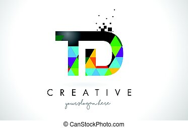TD T D Letter Logo with Colorful Triangles Texture Design...