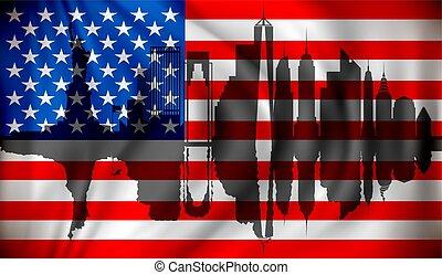 Flag of USA with New York skyline