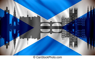 Flag of Scotland with Edinburgh skyline