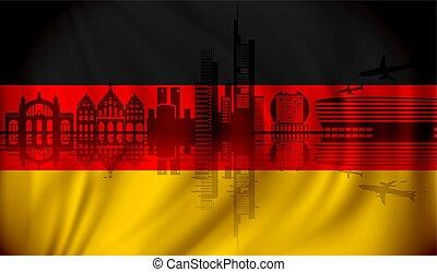 Flag of Germany with Frankfurt skyline