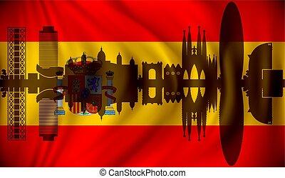 Flag of Spain with Barcelona skyline