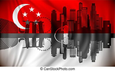 Flag of Singapore with skyline - vector illustration
