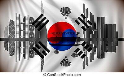 Flag of South Korea with Seoul skyline