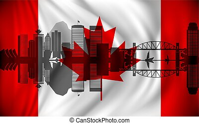 Flag of Canada with Vancouver skyline - vector illustration