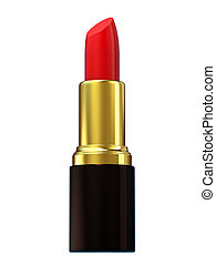 Red lipstick isolated on white. 3d renderig