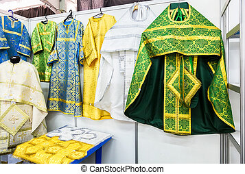 Different solemn slavic orthodox priest's vestments