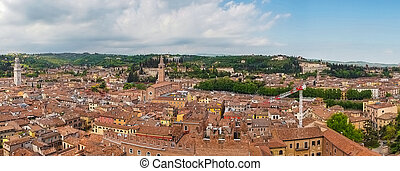 beautifull aerial view of city Verona with red roofs, Italy