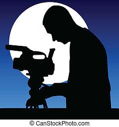 cameraman in the moonlight