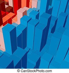 Abstract landscape with colored cubes. Abstract topographies...