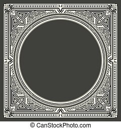 Vector floral and geometric monogram frame on dark gray background.