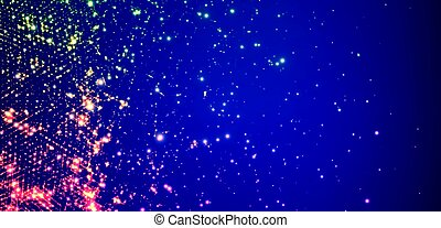 Abstract vector space background. Explosion of glowing particles. Futuristic technology style. Elegant background for business presentations.