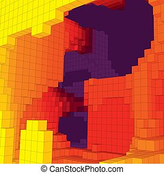 Abstract underground landscape with colored cubes