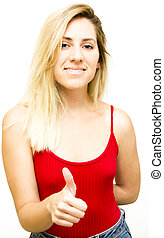 Portrait of a beautiful blond woman with her thumb up in sign of optimism