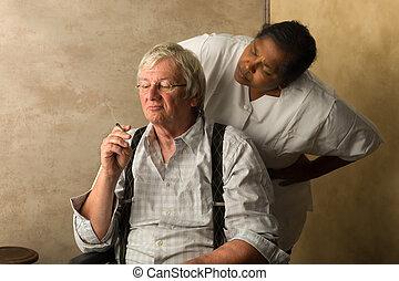Old man smoking gets caught - Elderly man in nursing home...