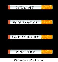 stop smoking and save life icon illustration on black background