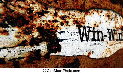 Win text on grunge background