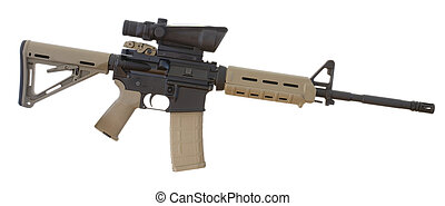 assault rifle that has a scope mounted and an adjustable...