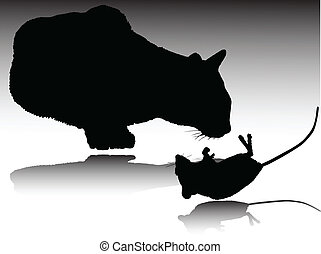 cat and mouse vector silhouettes
