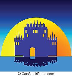 castle on the sunrise illustration