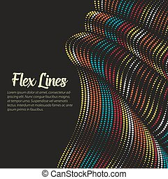 Vector warped lines background. Flexible stripes twisted as...
