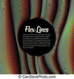 Vector warped dotted lines background. Flexible stripes of shining points twisted as silk forming volumetric folds. Glowing point cyber waves. Modern abstract creative backdrop.