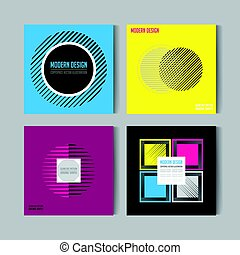 Flat style Abstract colorful Posers Set. Art Graphic Backgrounds Retro . Isolated Figure, Shape, Icon, Logo for Covers, Placards, Posters, Flyers, Banner Designs. Vector Illustration