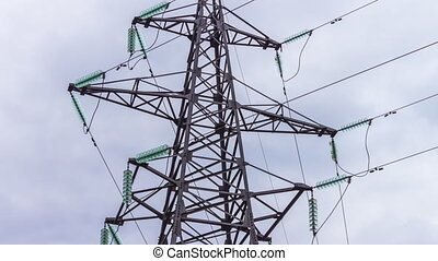 Electrical supports and power lines. Energy industry. Production and transportation of electricity by wire. high voltage.