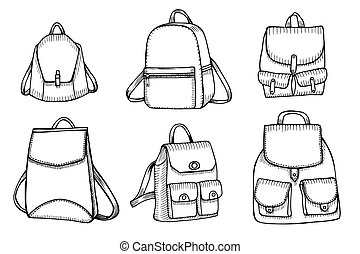 Set of Sketch Doodle Backpacks. - Hand drawn Set of Sketch...