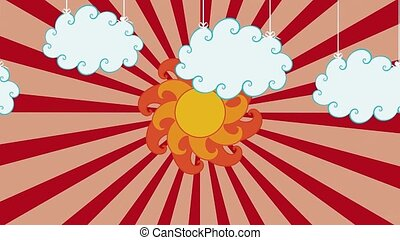 Looping animation of clouds and sun - Retro background with...