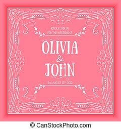 Vector floral and geometric monogram frame on red background. Elegant invitation or wedding card. Design element.