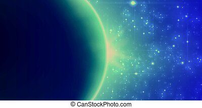 Abstract vector turquoise and violet background with planet...