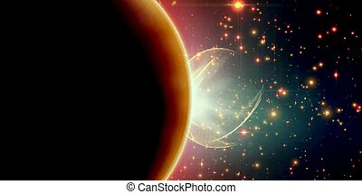 Abstract vector orange background with planet and eclipse of...