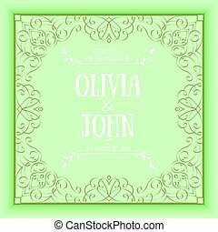 Vector floral and geometric monogram frame on green background. Elegant invitation or wedding card. Design element.