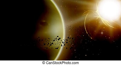 Abstract vector yellow background with planet and ring of...