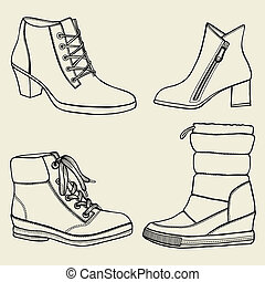art collection of shoes - hand drawing - a collection of...