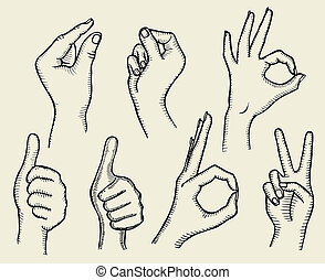 Set of Four Hands with Thumb Finger Up, Victory and O.K....