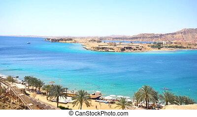 Aerial view blue sea